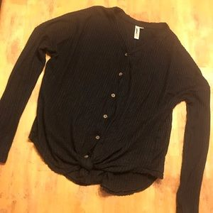 Black waffle knit button up top s